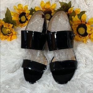 Coach Black Patent Leather Open Toe Sandals